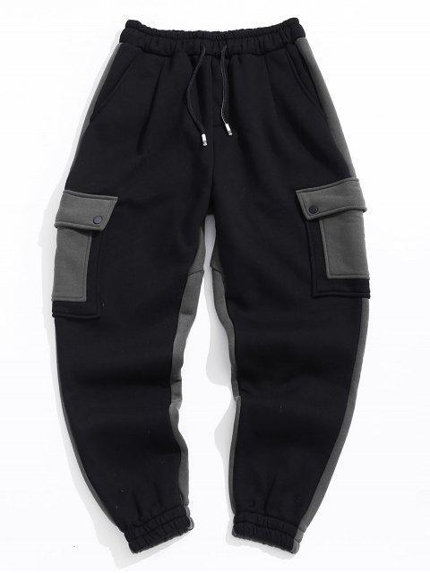 Lässige Taschenschmuck Farbe Gespleißt Hosen - Schwarz 34 Mobile