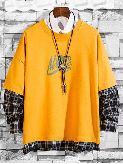 信打印格紋拼接仿兩件套運動衫 - 亮黃的 2XL Mobile