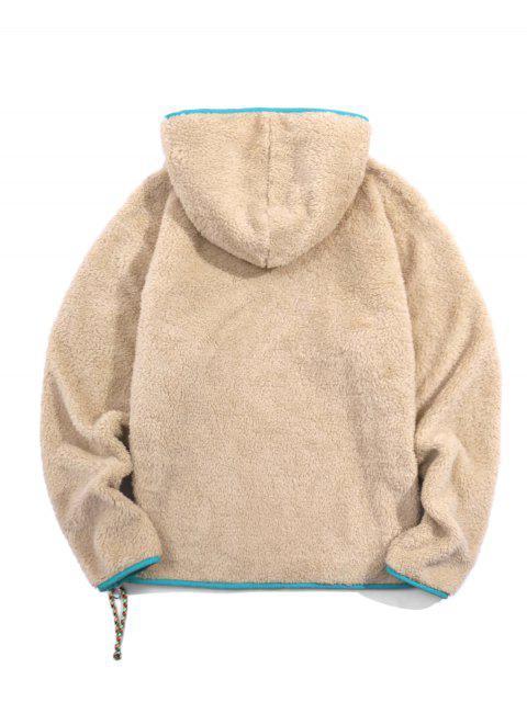 色塊季度郵編蓬鬆夾克 - 輕卡其色 M Mobile