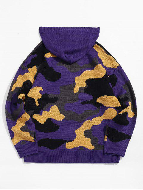 Tarnastrich Grafik Drop Schulter Pullover mit Kapuze - Lila 2XL Mobile