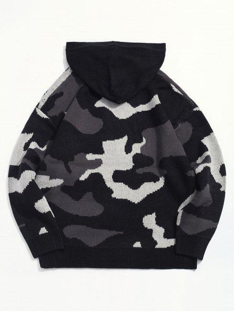 迷彩圖形跌落肩連帽衛衣 - 黑色 2XL Mobile