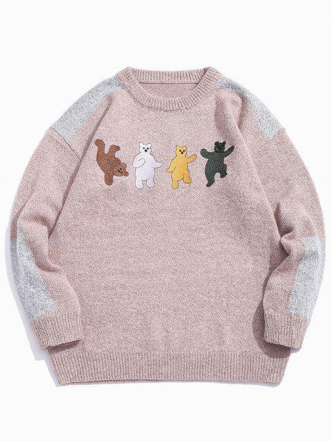 卡通熊刺繡Colorblock拼接毛衣 - 黃褐色 XL Mobile