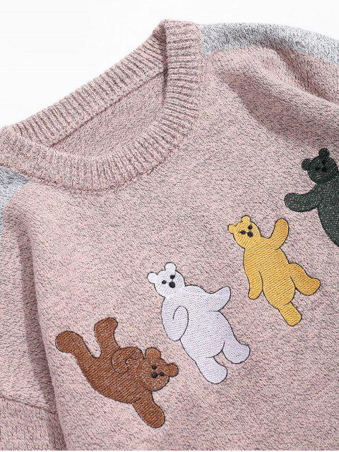 卡通熊刺繡Colorblock拼接毛衣 - 黃褐色 2XL Mobile
