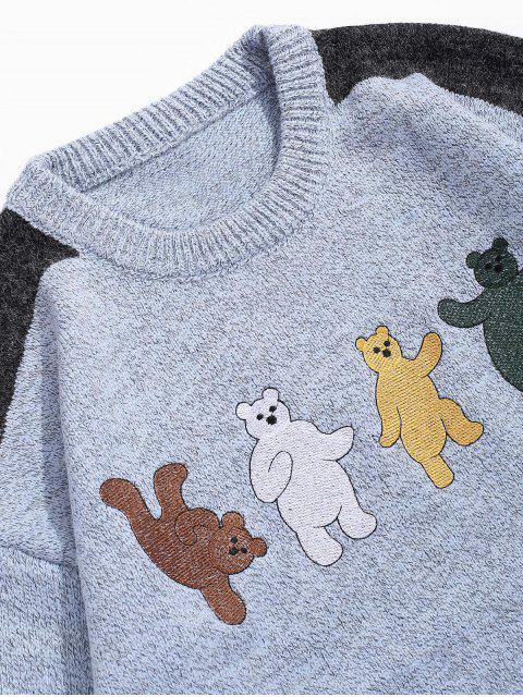 卡通熊刺繡Colorblock拼接毛衣 - 藍灰色 M Mobile