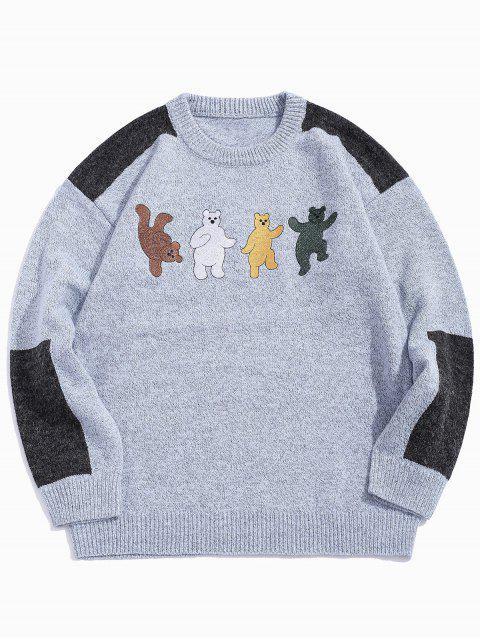卡通熊刺繡Colorblock拼接毛衣 - 藍灰色 XL Mobile