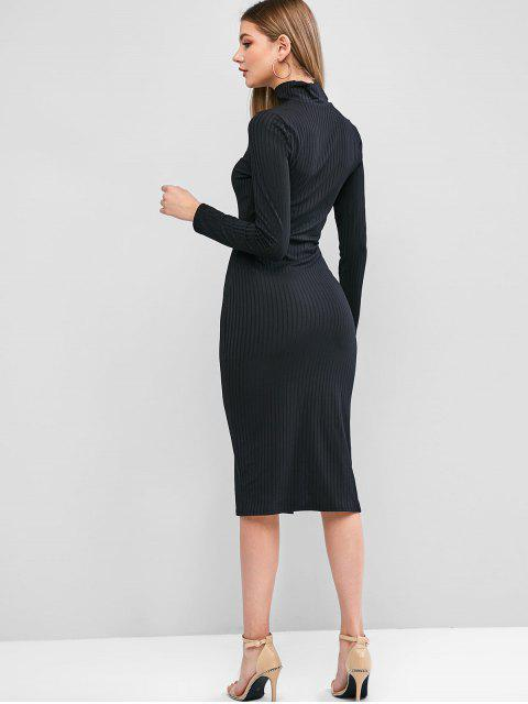 長袖高領縫密Bodycon連衣裙 - 黑色 L Mobile