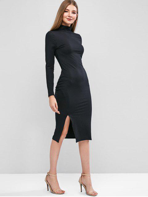 Midi Bodycon Kleid mit hohem Schlitz und Langarm - Schwarz L Mobile