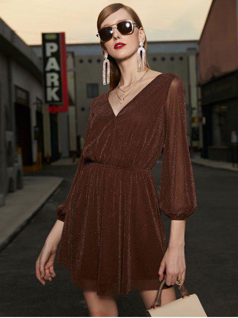 ZAFUL Funkeln Surplice Party-Kleid mit V-Ausschnitt - Mocha XL Mobile