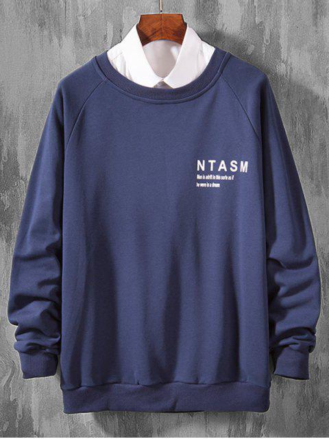 信打印拼接休閒插肩袖套頭衫 - 牛仔布深藍色 S Mobile