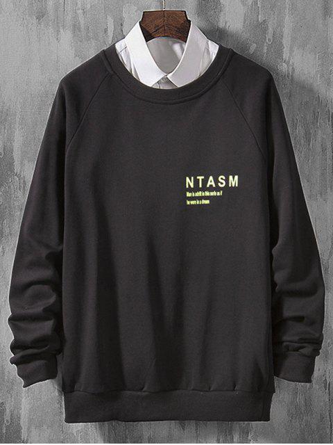 信打印拼接休閒插肩袖套頭衫 - 黑色 XS Mobile