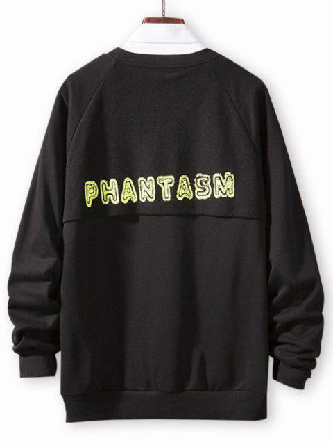 Casual Sweatshirt mit Reglan Ärmel und Buchstabe Druck - Schwarz 2XL Mobile