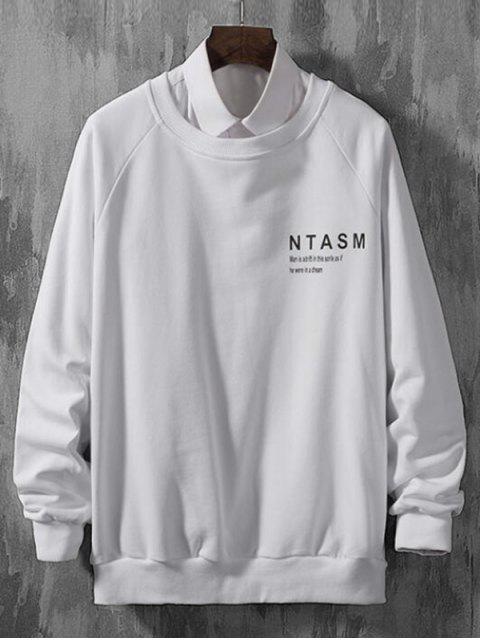 信打印拼接休閒插肩袖套頭衫 - 白色 2XL Mobile
