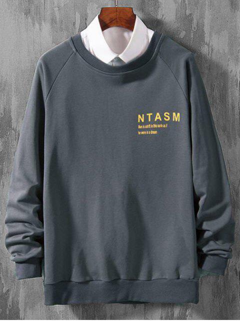 Casual Sweatshirt mit Reglan Ärmel und Buchstabe Druck - Bewölkt Grau 2XL Mobile