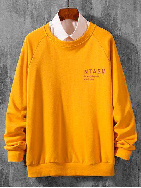 信打印拼接休閒插肩袖套頭衫 - 橡膠Ducky黃色 S Mobile