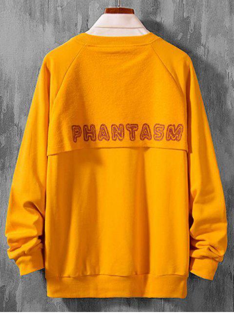 信打印拼接休閒插肩袖套頭衫 - 橡膠Ducky黃色 L Mobile