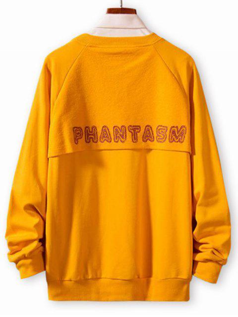 Buchstabedruck Spleißen Lässige Raglan Ärmel Sweatshirt - Niedliches Gummi Gelb XL  Mobile