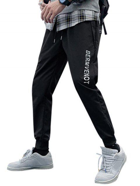 圖形打印休閒褲慢跑者 - 黑色 4XL Mobile