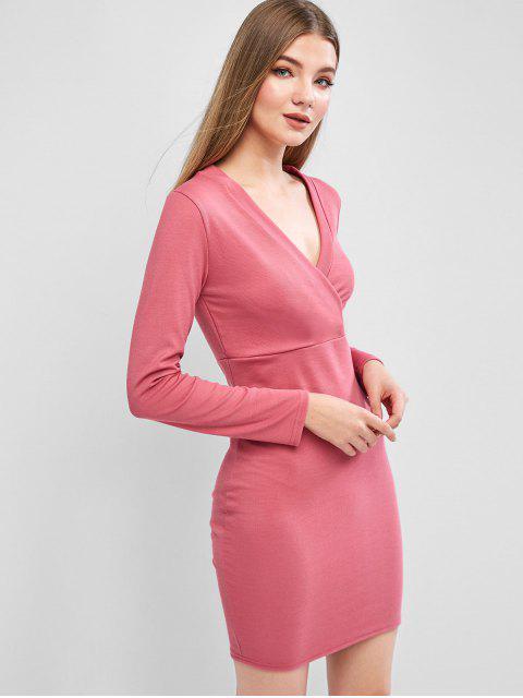 Geripptes Surplice Langarm Tailliertes Kleid - Rosenrot XL Mobile