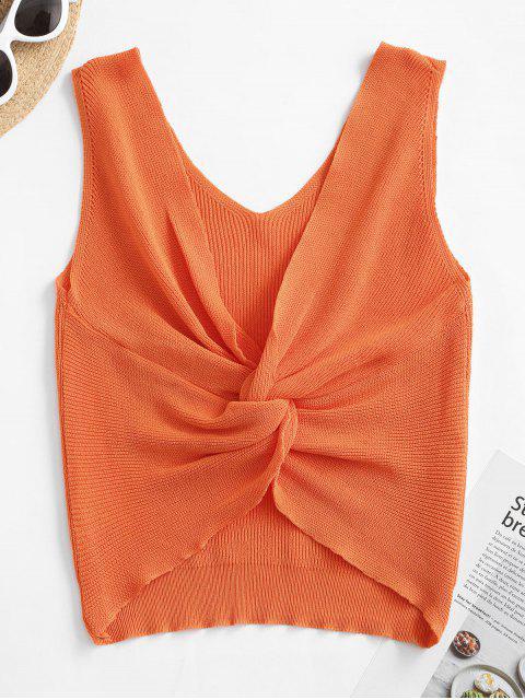 Verdrehte Rückenfrei Crop Knit Tank Top - Orange Eine Größe Mobile