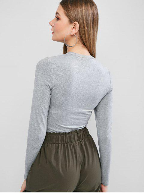 affordable ZAFUL Long Sleeve Heather Basic T-shirt - GRAY CLOUD L Mobile