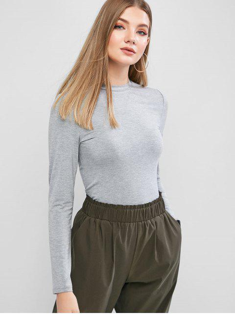 unique ZAFUL Long Sleeve Heather Basic T-shirt - GRAY CLOUD S Mobile