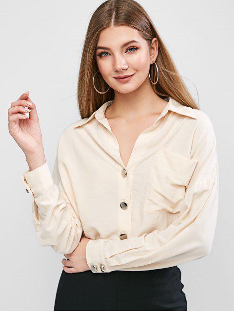 best ZAFUL Drop Shoulder Button Up Front Pocket Shirt - CORNSILK XL Mobile