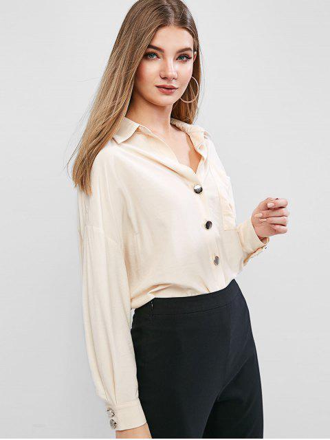 lady ZAFUL Drop Shoulder Button Up Front Pocket Shirt - CORNSILK L Mobile