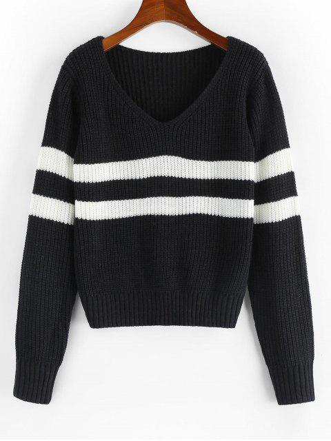 shops ZAFUL Striped V Neck Jumper Sweater - BLACK M Mobile