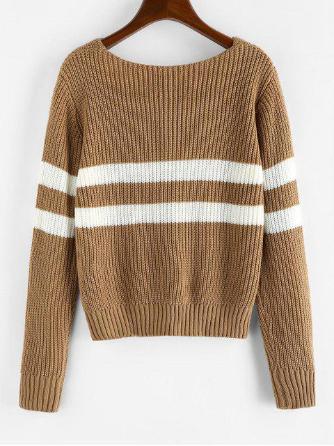 ZAFUL Streifen V-Ausschnitt Pullover - Eiche Braun M Mobile