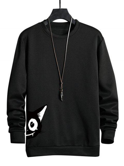 卡通貓打印休閒運動衫 - 黑色 L Mobile