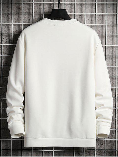 卡通貓打印休閒運動衫 - 白色 S Mobile