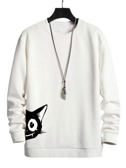Sweat-shirt Décontracté Chat Dessin Animé Imprimé - Blanc XL Mobile