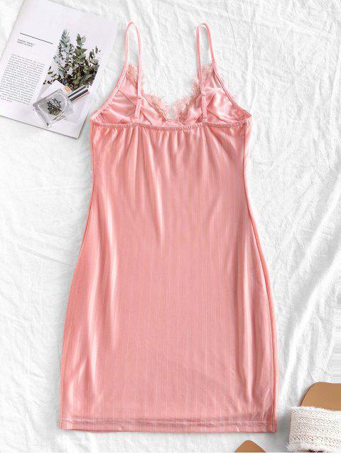 shop Cami Eyelash Lace Panel Shadow Stripes Sleepwear Dress - PINK M Mobile