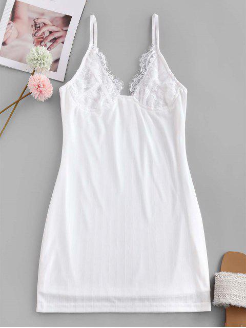 trendy Cami Eyelash Lace Panel Shadow Stripes Sleepwear Dress - WHITE L Mobile
