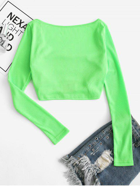 ladies Neon Push Buckle Cut Out Ribbed Tee - LAWN GREEN S Mobile