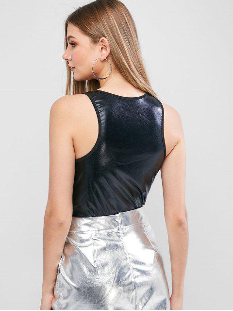 Bodysuit con Cremallera Frontal de Cuero Sintético - Negro S Mobile