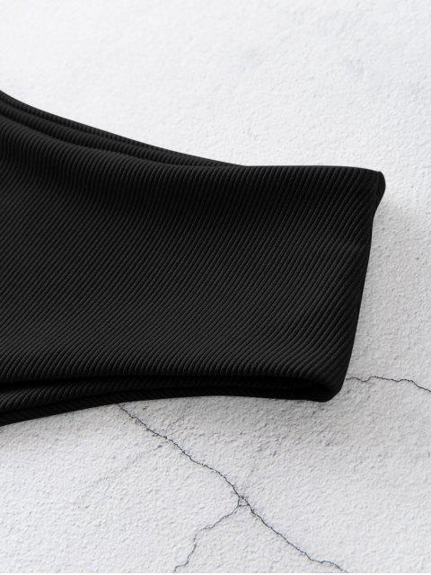 ZAFUL Bikini Bottom de Cintura Alta Acanalado - Negro L Mobile