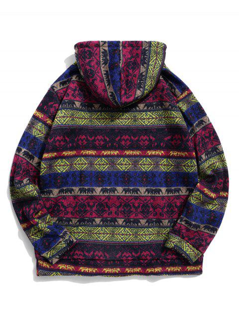 Stammes Muster Känguru Taschen Hoodie - Pflaume 2XL Mobile