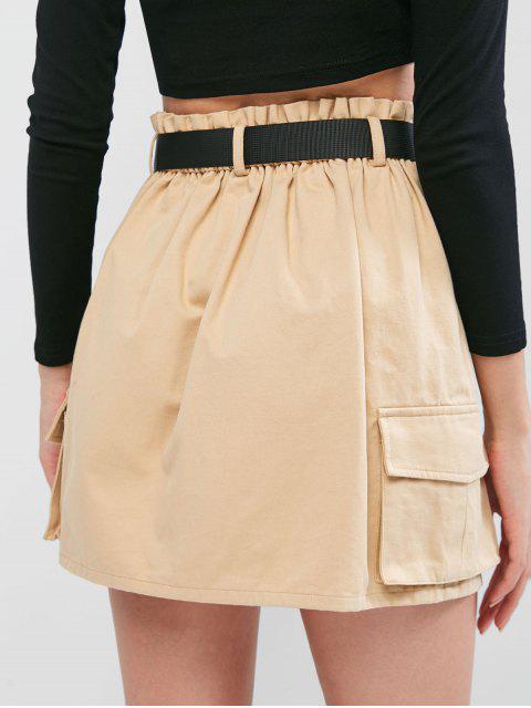 ZAFUL Mini Falda de Pana con Cinturón y Bolsillos - Caqui XL Mobile