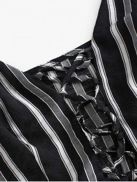 ZAFUL Conjunto de Blusa con Volantes a Rayas con Cordones - Negro L Mobile