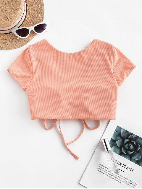 fancy ZAFUL Cinched Ribbed Swim Top - LIGHT SALMON XL Mobile