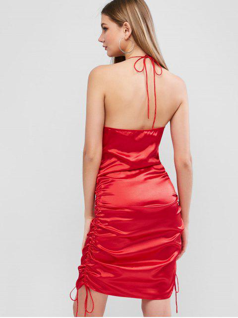 trendy ZAFUL Satin Cinched Backless Halter Tie Dress - RED S Mobile