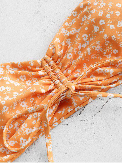 outfit ZAFUL Ditsy Print Cinched High Leg Bandeau Bikini Swimwear - SANDY BROWN S Mobile