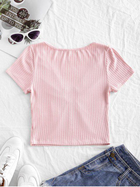 ZAFULソリッドOリングリブクロップドTシャツ - ピンク L Mobile