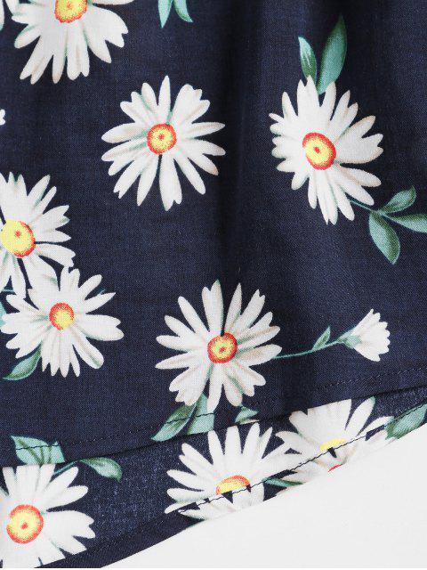 ZAFUL Gebundenes Blumen Knopf Hem Shorts mit Weitem Bein Set - Lapisblau S Mobile