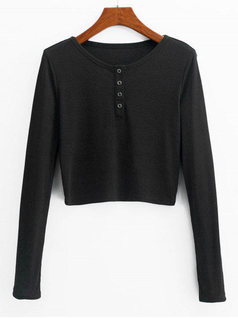 ZAFULヘンリークロップドニットTシャツ - ブラック XL Mobile