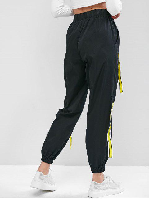 ZAFUL Jogger Pantalones con Cinta y Bolsillo - Negro L Mobile