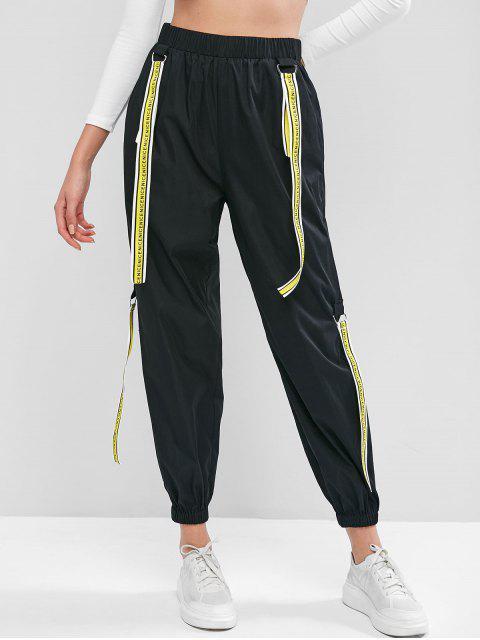 ZAFUL Jogger Pantalones con Cinta y Bolsillo - Negro S Mobile