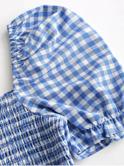 ladies ZAFUL Knotted Smocked Gingham Crop Blouse - SLATE BLUE L Mobile