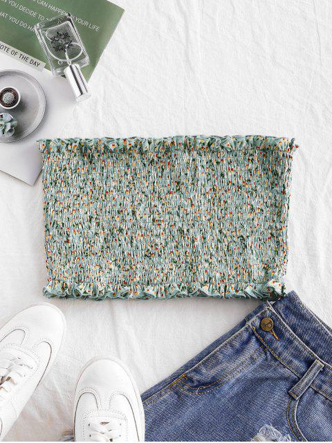 sale ZAFUL Smocked Ditsy Floral Bandeau Top - CYAN OPAQUE M Mobile